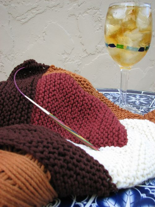 Ice Tea and Log Cabin Knitting